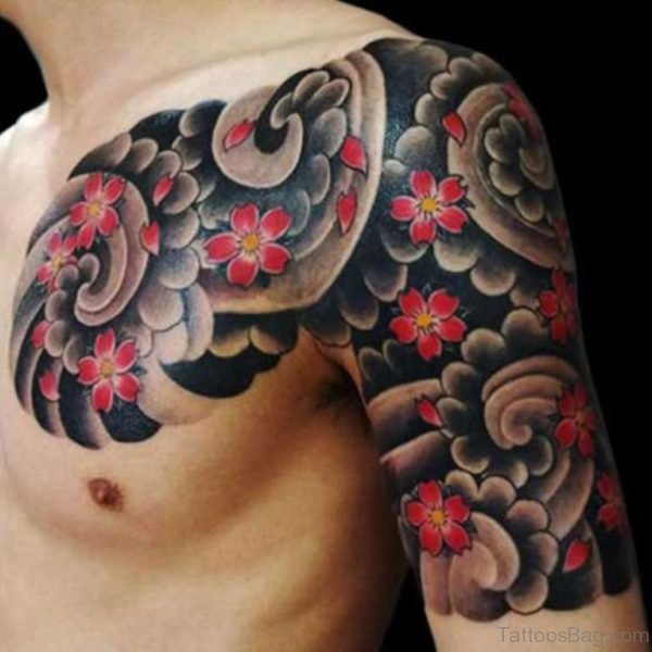 Flower Tattoo On Chest