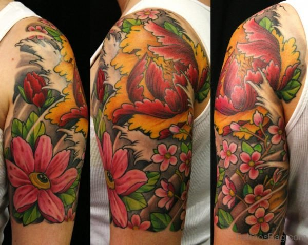 Flower Tattoo On Half Sleeve