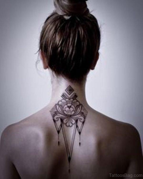 Flower Tattoo On Nape