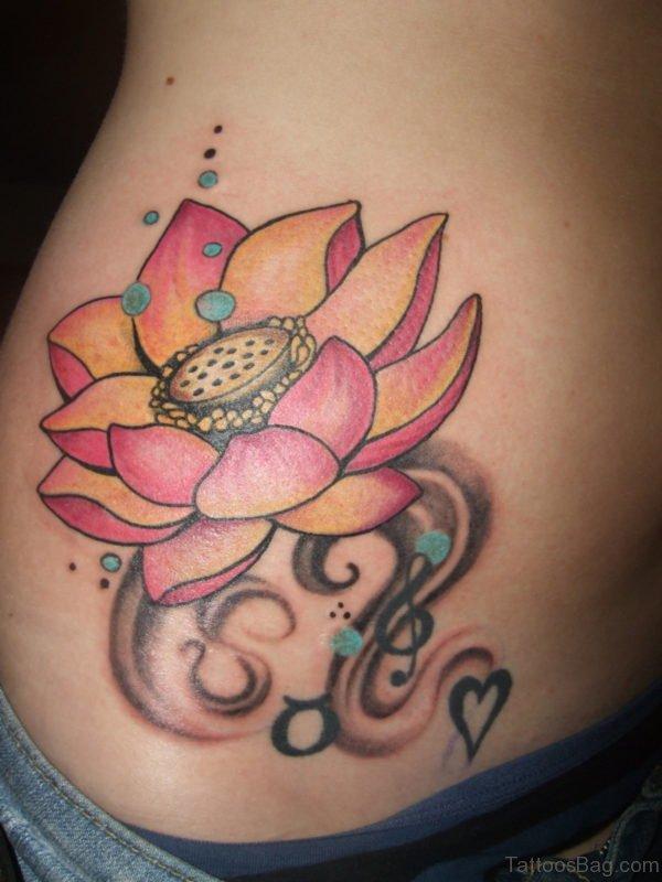 Flower Tattoo On Stomach