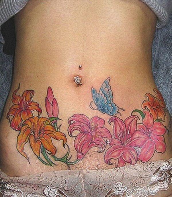 Flower Tattoo On Waist