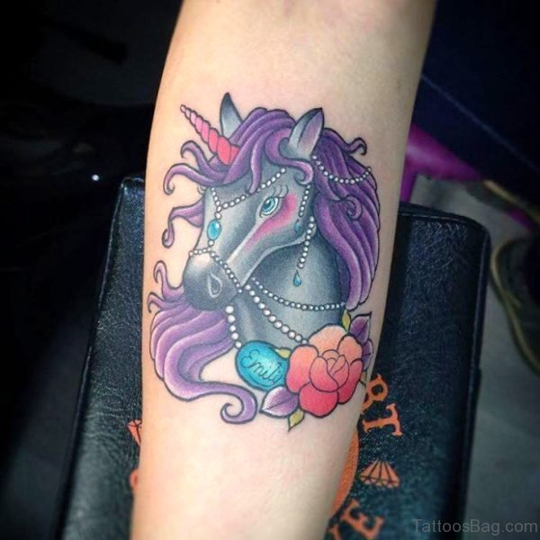 Flower With Unicorn Tattoo On Arm
