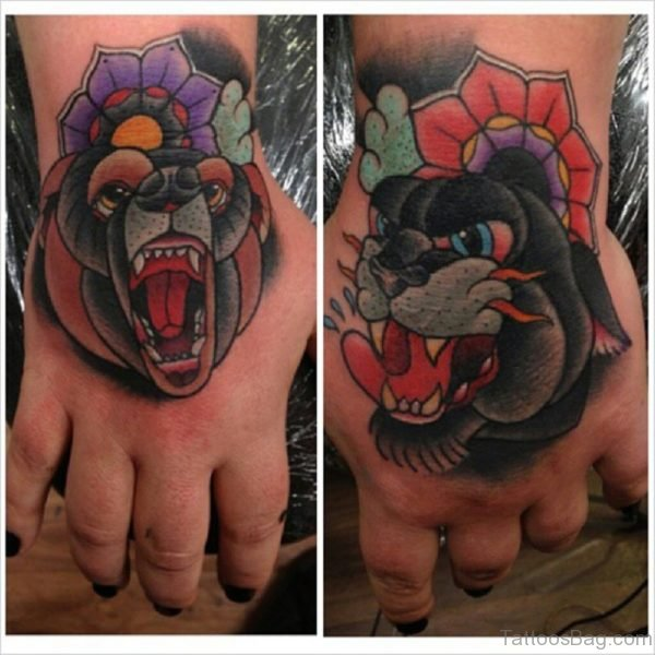 Flowers And Bear Tattoo