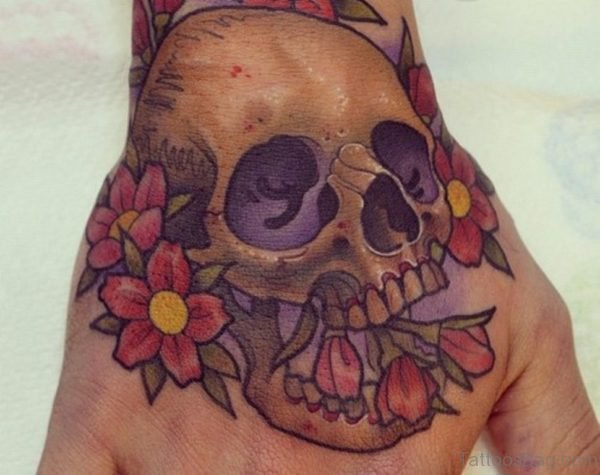 Flowers And Skull Tattoo