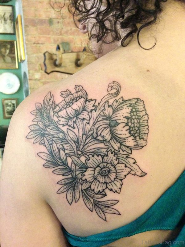 Flowers Tattoo On Back Shoulder