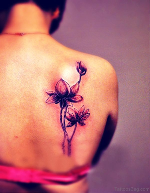 Flowers Tattoo On Back Shoulder 2