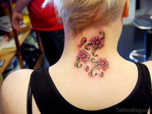 Flowers Tattoo On Nape