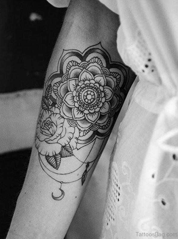 Flowery Mandala Tattoo on Arm