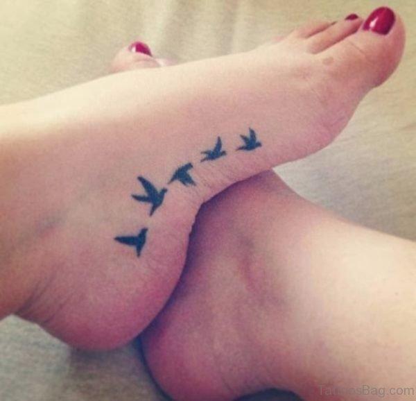 Flying Bird Tattoo Design On Foot