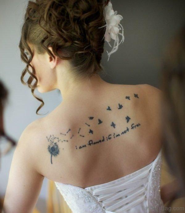 Flying Bird Tattoo On Back