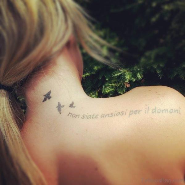 Flying Birds Tattoo On Nape