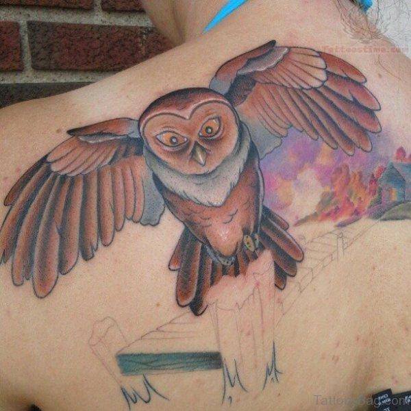 Flying Brown Owl Tattoo On Shoulder
