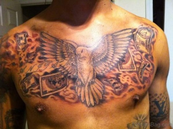 Flying Dove And Grey Ink Cards Chest Tattoo