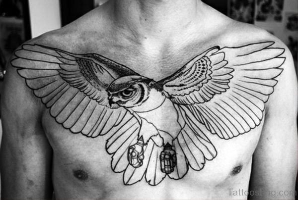 Flying Owl Tattoo On Chest