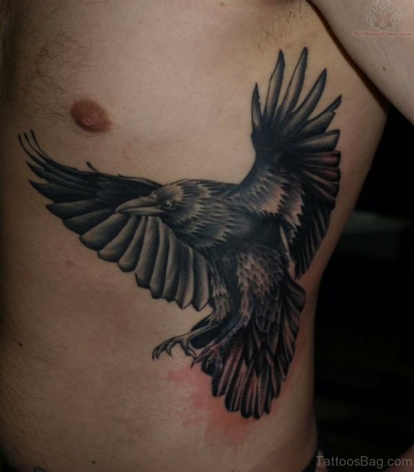 Flying Raven Tattoo On Men Side Rib