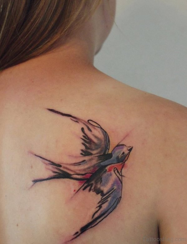 Flying Swallow Tattoo On Back