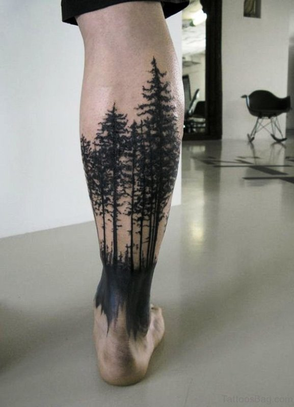 Forest Trees Tattoo On Calf