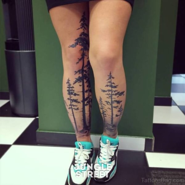 Forest Trees Tattoos On Both Legs