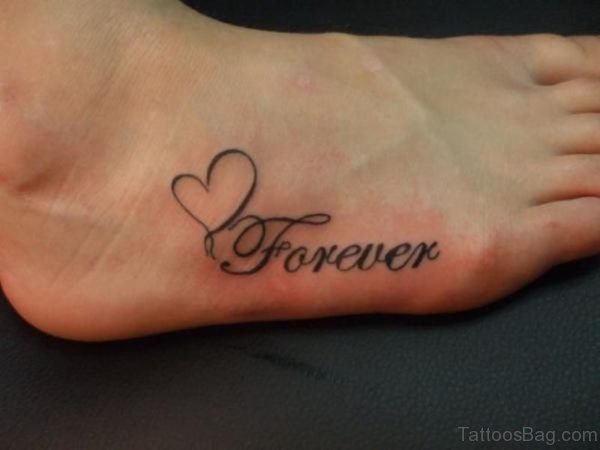 Forever Heart Tattoo On Foot