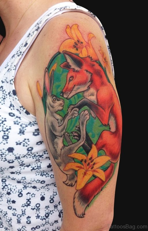 Fox And Rabbit Tattoo On Shoulder