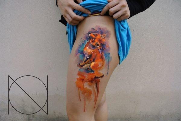 Fox Tattoo Design On Thigh