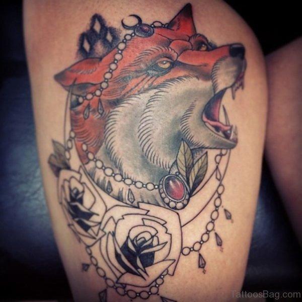 Fox Tattoo On Thigh
