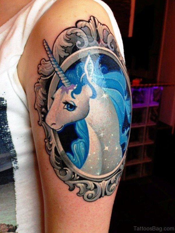 Framed Unicorn Tattoo On Shoulder