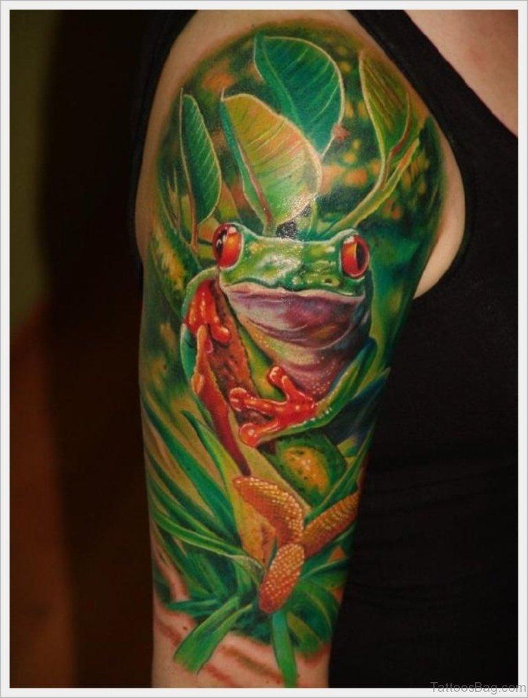62 attractive leaves tattoos for shoulder for Celtic frog tattoo designs