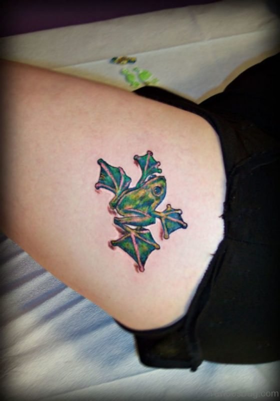 Frog Tattoo On Leg