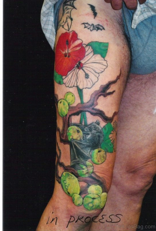 Fruit Tattoo On Thigh