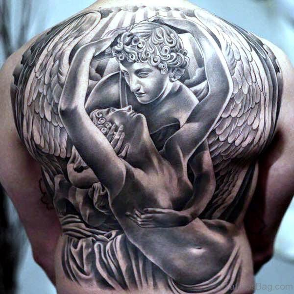 Full Back Archangel Tattoo On Back