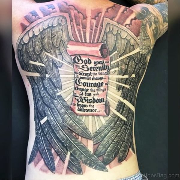 Full Back Scroll Tattoo With Big Wings