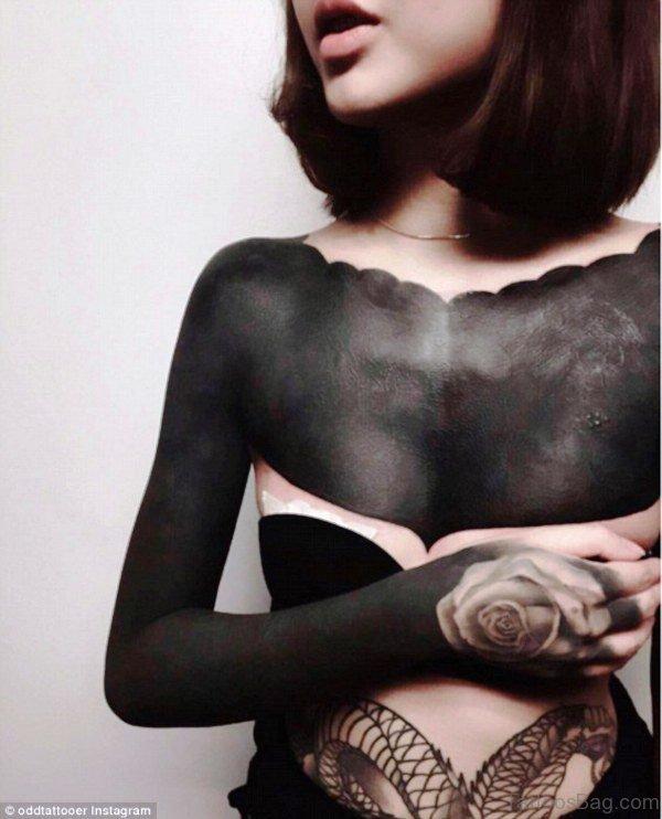 Full Black Chest Tattoo For Girls
