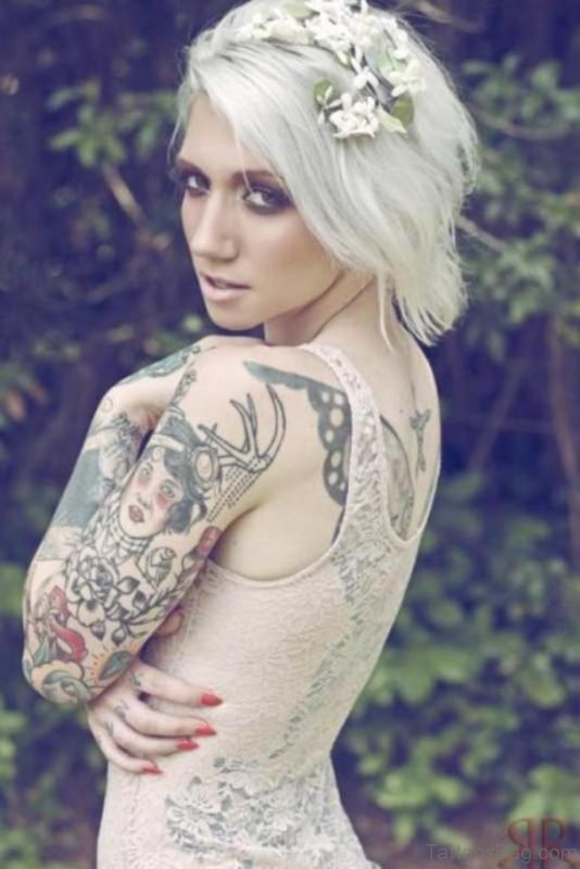 Full Sleeve Tattoo For Young Girls