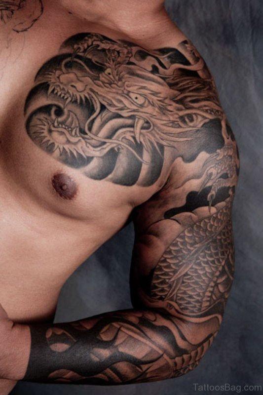 Full Sleeves Balck Ink Shoulder Tattoo