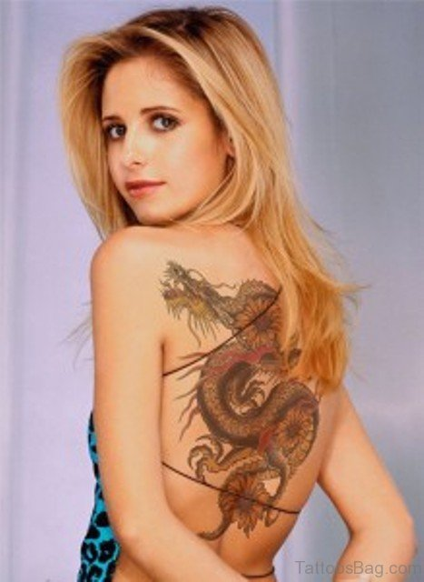 Funky Dragon Tattoo On Back Body