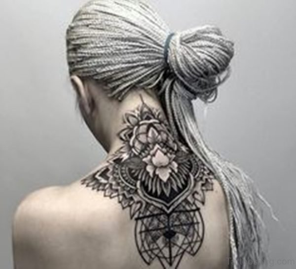 Funky Nape Tattoo For Girls