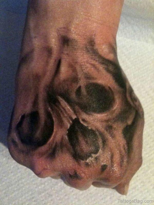 Funky Skull Tattoo Design On Hand