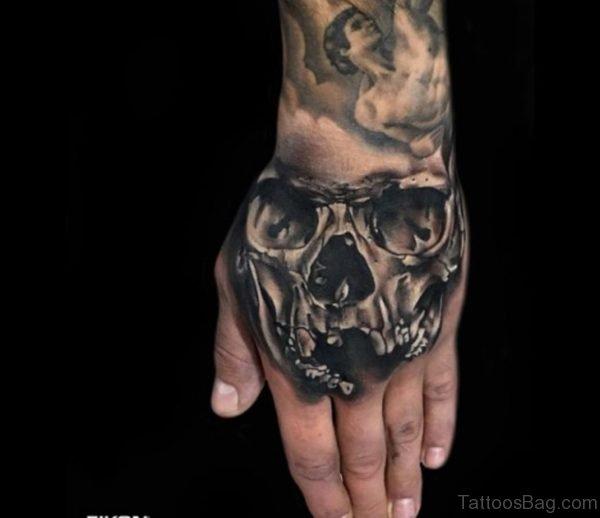 Funky Skull Tattoo On Hand