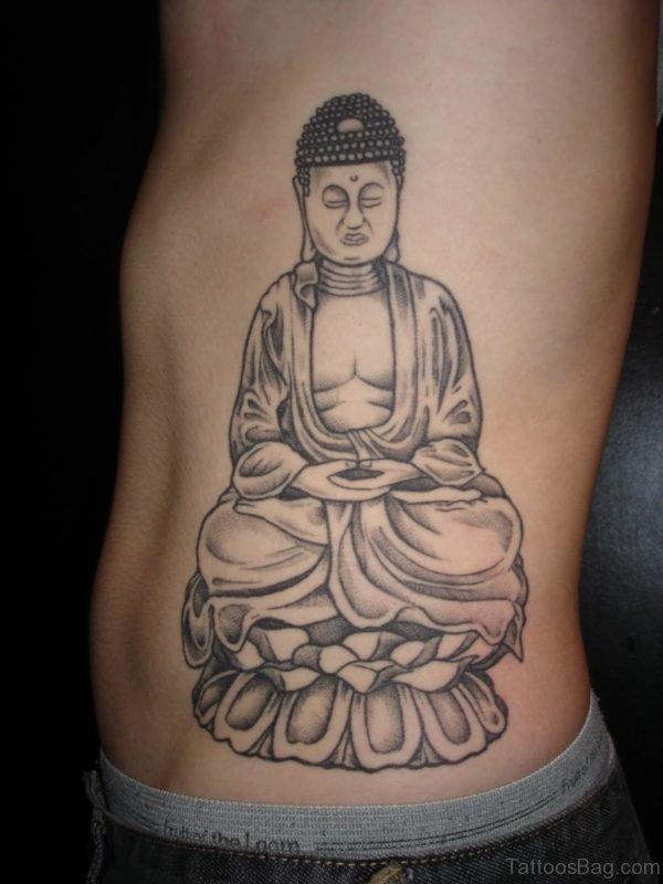 Funky Tattoo Design On Side Rib