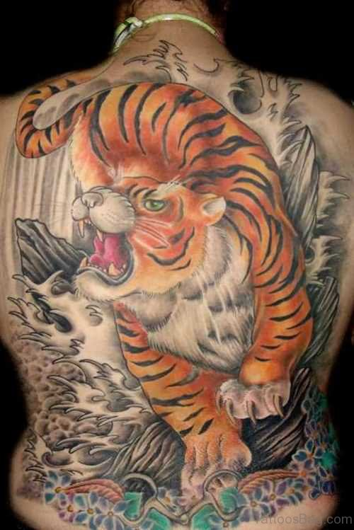 Funky Tiger Tattoo On Back Body