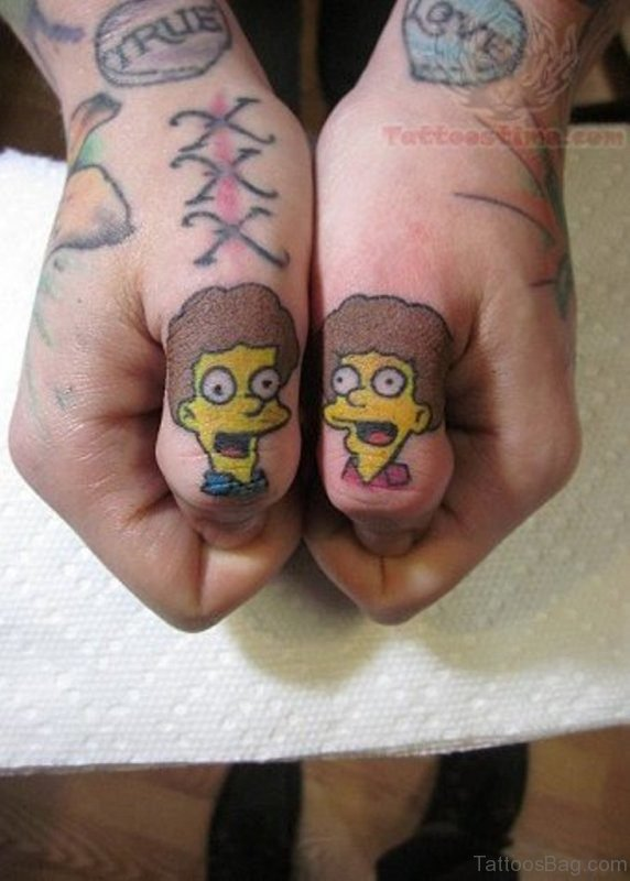 Funny Cartoon Tattoo On Wrist