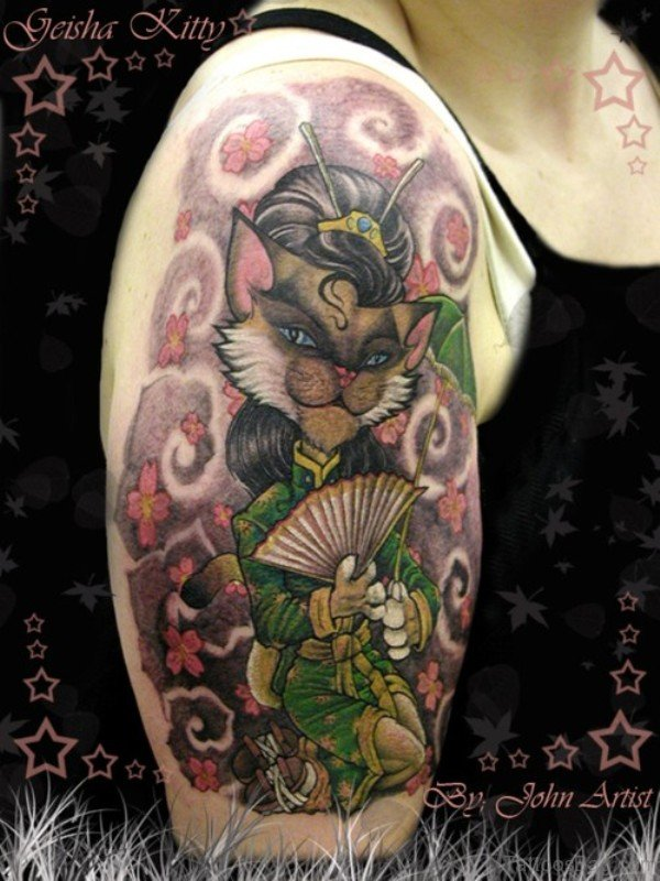 Funny Cat Tattoo Design On Shoulder