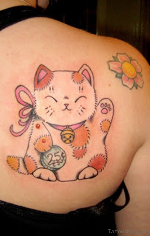 Funny Kitty Tattoo On Shoulder
