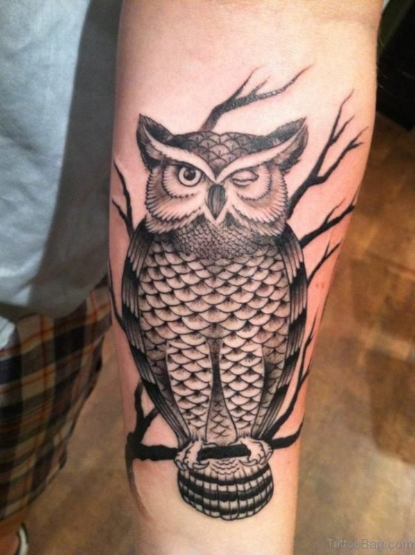 Funny Owl Tattoo On Arm