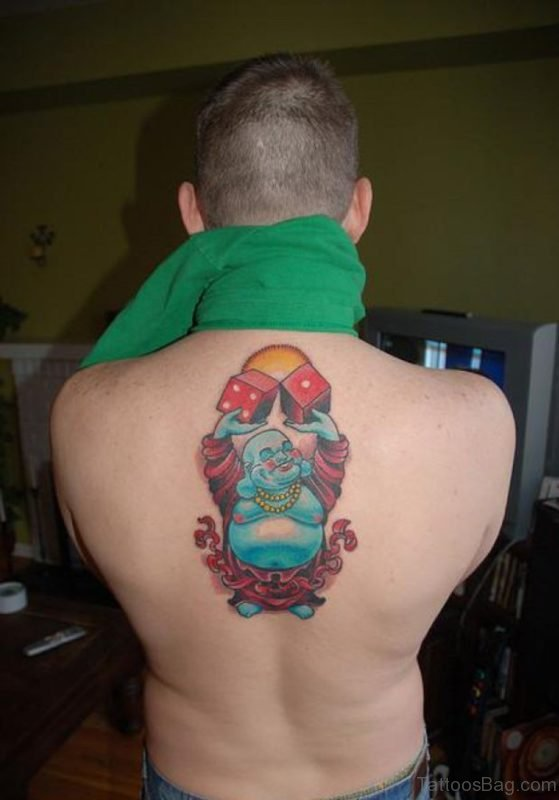 Funny Buddhist Tattoo On Upper Back