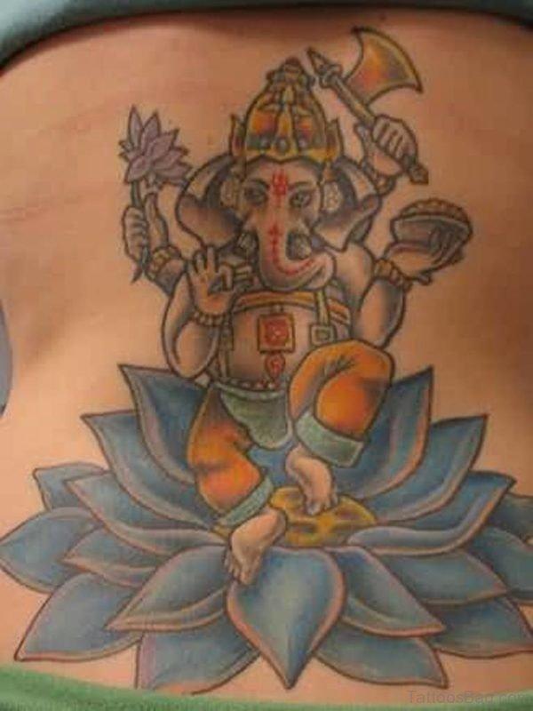 Ganesha And Blue Lotus Tattoo