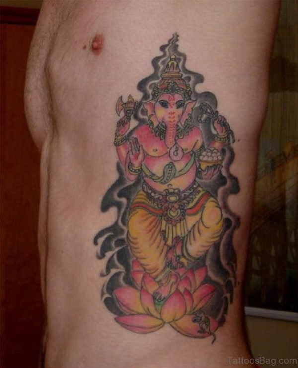 Ganesha Tattoo Design On Rib