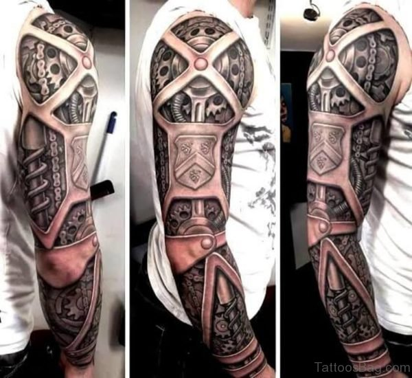 Gear Tattoo On Full Sleeve