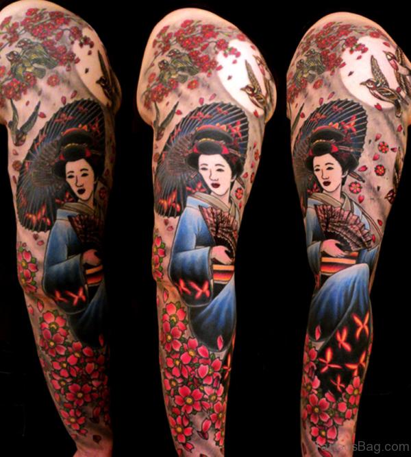 Geish Tattoo DGeisha Tattoo Design On Full Sleeve esign On Full Sleeve TB1088